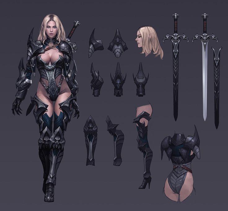 Kriegerin inkl. Ausstattungsdetails ArtStation - demonic knight, Seok Jeon