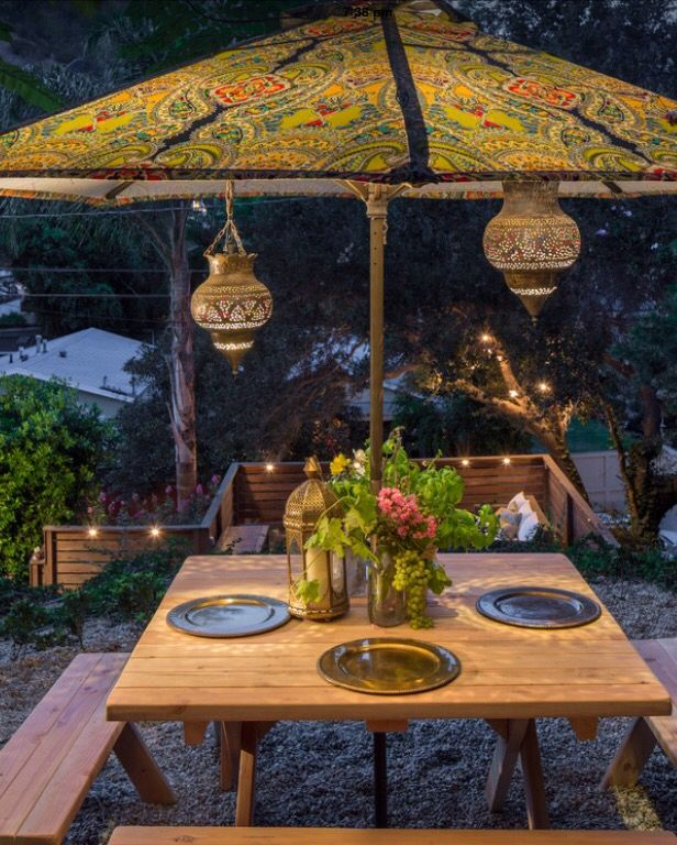 This Moroccan inspired alfresco area is charming and simple to achieve. Ambience is achieved with lighting, exotic patterns and gold accents.  Photo credit- Shannon Ggem ASID