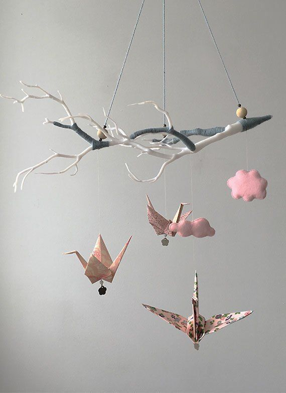 Baby mobile, Origami cranes, Nursery mobile, nursery decor, blues ... | 782x570