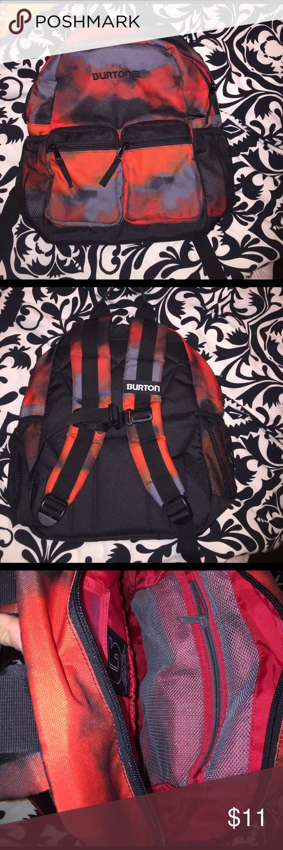 Burton kids backpack Burton kids backpack. Preschool size. Red and black tie dye print. Two front zip pockets. Two mesh pockets on outside sides. Internal mesh compartments. Great condition Burton Accessories Bags