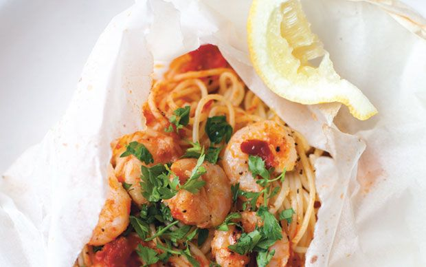Cooking this simple prawn spaghetti dish in a bag creates lots of flavoursome   juices.