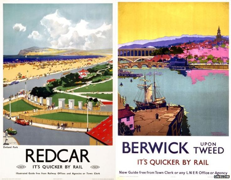 Redcar and Berwick posters by Frank Mason
