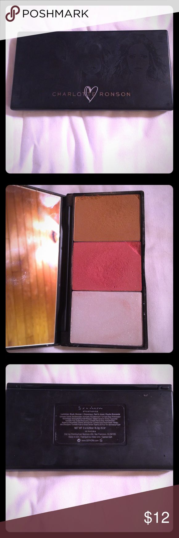 Charlotte Ronson 3x a charm blush/bronze/highlight Blush/Bronzer/highlight palette by Charlotte Ronson. Discontinued at Sephora. This has not been used hardly at all but was in my makeup case so got slightly beat up. Still plenty of life left in it. See photo. It has been sanitized and is ready to go. No trades. Reasonable offers welcome. Charlotte Ronson Makeup Blush