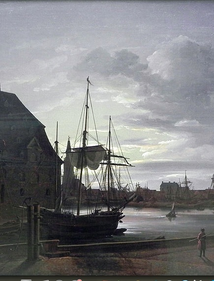 johan christian dahl, frederiksholms canal in copenhagen with christian iv's brewery,  c. 1817 (detail)