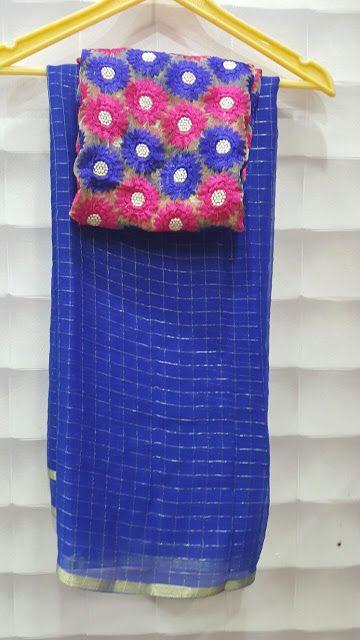Pure Georgette zari checks saree with designer blouses | Buy Online georgette Sarees | Elegant Fashion Wear