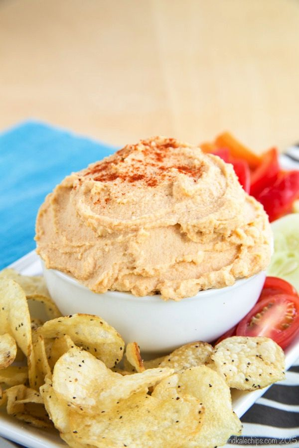 Smoky Cheddar and Roasted Cauliflower Hummus is a smooth and creamy healthy dip with tons of protein and fiber, and even some extra vegetables. Serve with veggies, chips, or pita for an appetizer or snack. #ad | cupcakesandkalechips.com | gluten free, vegetarian recipe