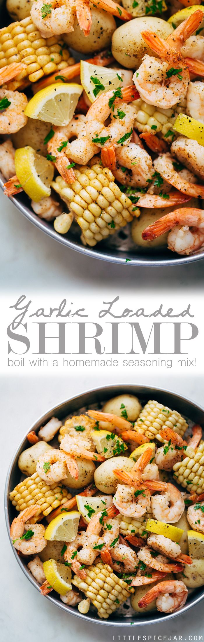 Garlic Loaded Southern Shrimp Boil - This is a 30 minute recipe for a homemade shrimp boil with homemade boil seasoning! #shrimpboil #homemadeoldbayseasoning #shrimp #boil #seafoodboil #crawfishboil | LIttlespicejar.com