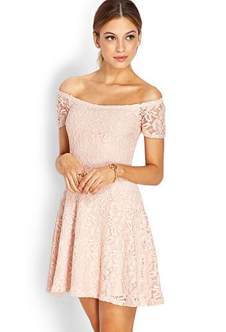 Sweetheart Lace Off-The-Shoulder Dress | FOREVER21 - I only worry about how short this would be.