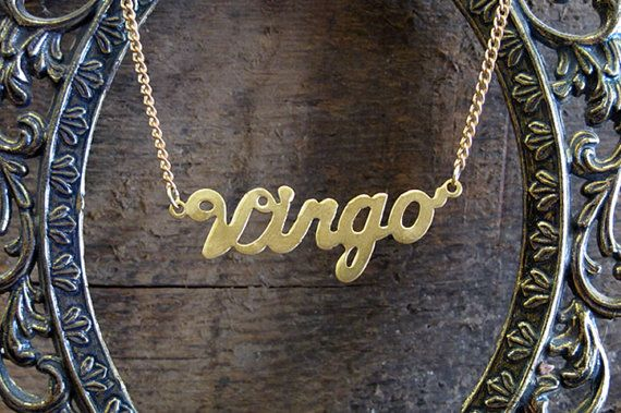 This listing is for a brass Virgo Astrological Sign necklace measuring 18 inches long.    VIRGO - The Virgin August 23rd - September 23rd