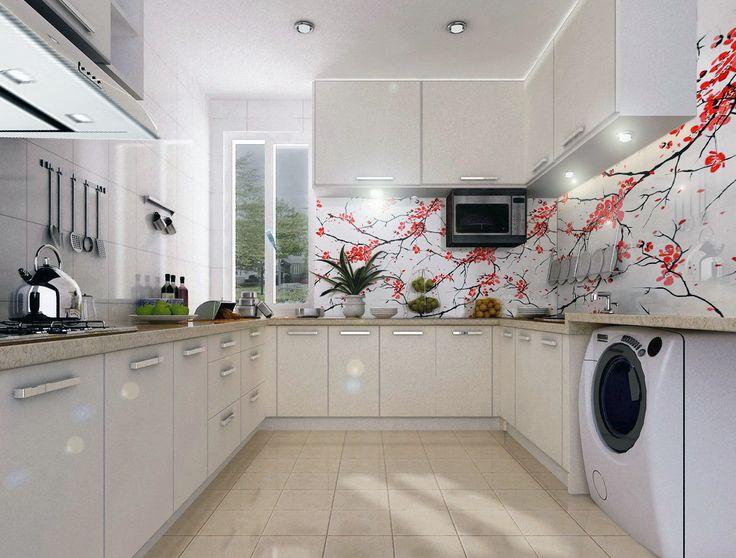 Delikatny motyw roślinny na panelech szklanych do kuchni