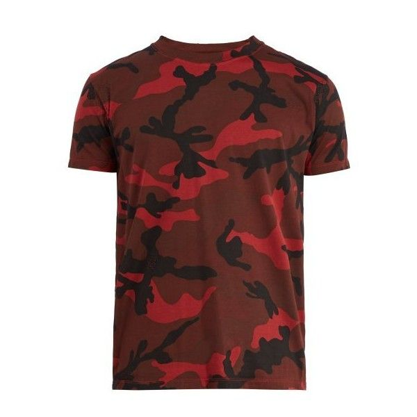 Valentino Camouflage-print T-shirt ($650) ❤ liked on Polyvore featuring men's fashion, men's clothing, men's shirts, men's t-shirts and camouflage