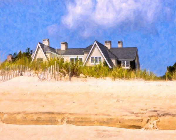 New York Print featuring the photograph Beach House In The Hamptons by Mark E Tisdale