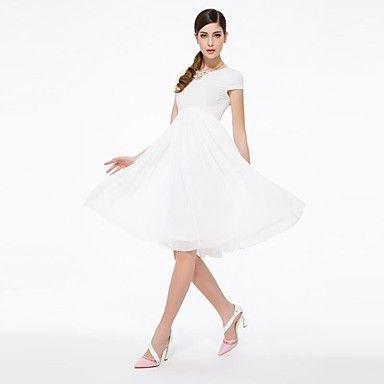 Mujeres con AOS de cintura alta de manga corta de dama de honor de gasa blanca Vestido largo – USD $ 31.99
