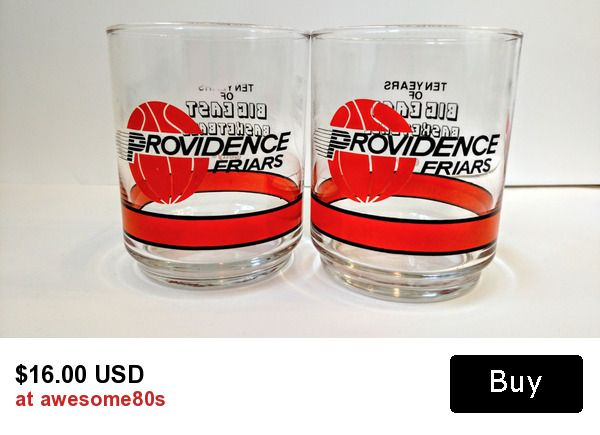 Vintage 1980s Providence Friars Basketball Big East Conference Getty Promotional Glasses Tumblers, Providence College NC