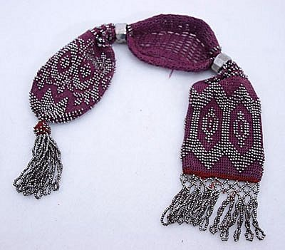 1880s CROCHET Steel Beaded Misers Purse
