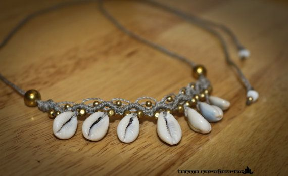 Macramé Necklace Tiara Headband with Healing White Agate Brass beads and Natural Cowrie Shells � Gypsy Bohemian � Hippie � Native �