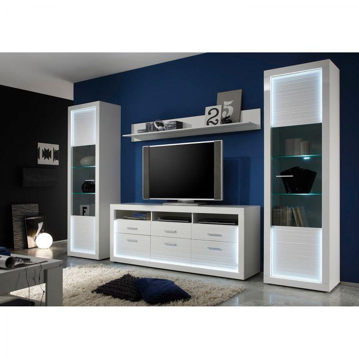 Tv-lowboard Tolanaro II (inclusief verlichting) - hoogglans wit/wit