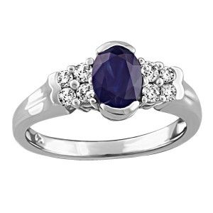 14KT White gold 0.24 ctw diamond and sapphire ring. RIN-LGM-2671