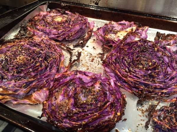 Roasted Purple Cabbage Don't say you don't like cabbage until you have had it cooked like this!  I rarely cook cabbage.  I usually use cabbage for making coleslaw and have made some delicious stuff...