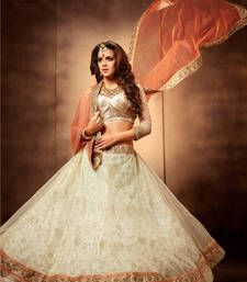 Buy White and peach net embroidered unstitched lehenga choli lehenga-choli online