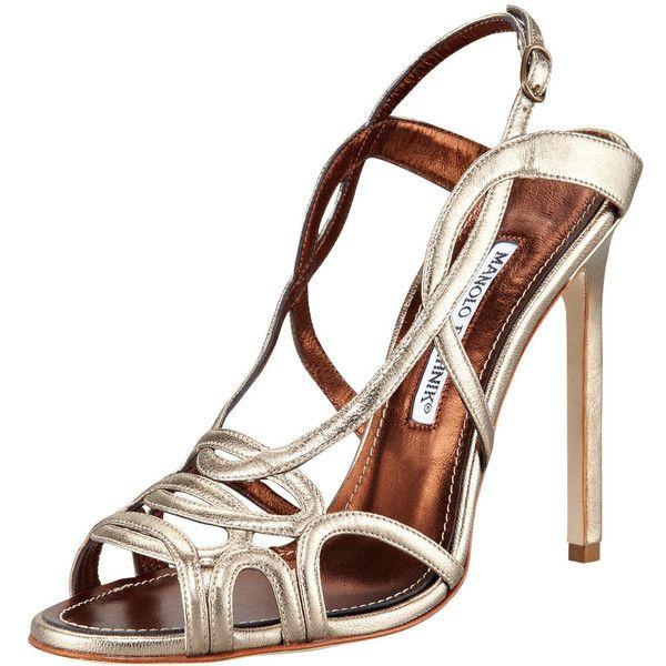 Manolo Blahnik Fertillia Metallic Leather Slingback Sandal ($389) ❤ liked on Polyvore featuring shoes, sandals, heels, strap heel sandals, leather sandals, slingback sandals, strappy leather sandals and metallic heeled sandals