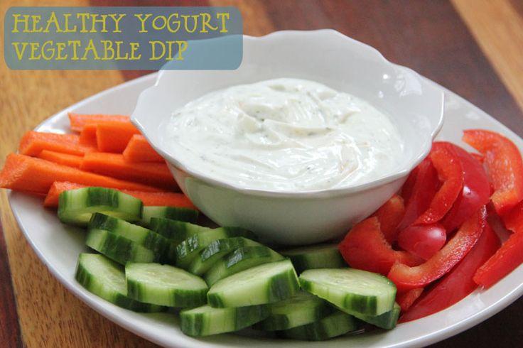 Healthy vegetable dip using fat free plain Greek yogurt and light sour cream.  Only 26 calories per serving!