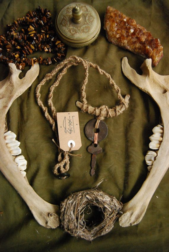 Rib bone, washer + key necklace. $20 by lonelybonescreations on Etsy