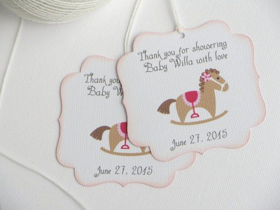 Rocking horse baby shower favor tags Pink baby by WildSugarberries
