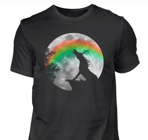 Einhorn Vollmond Regenbogen - Und endlich, das Shirt auf das alle Einhorn-Fans schon seit Ewigkeiten warten - das romantisch den Mond anheulende Einhorn - natürlich mit dem klassisch nächtlichen Regenbogen :D  Als Shirt und Tanktop für Männer, Frauen und Kids, als Hoodie und als Jacke erhältlich.
