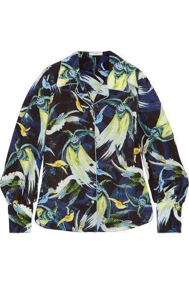Erdem - Fae Printed Silk Shirt - Midnight blue - UK14