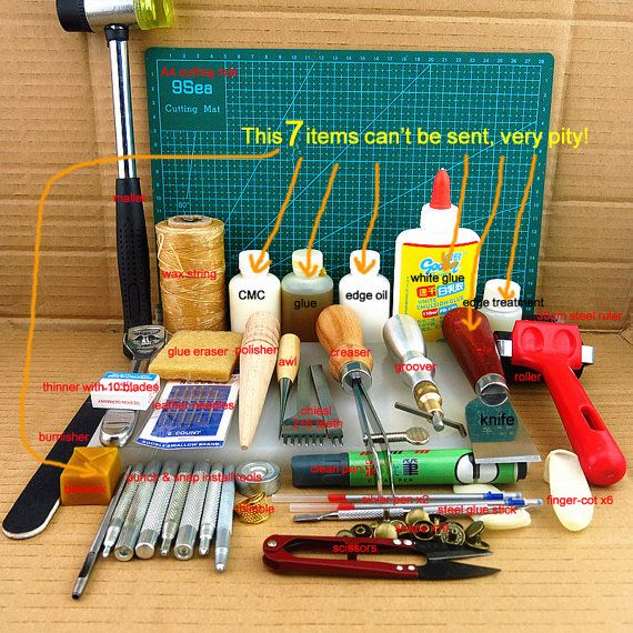 leather tools kit leathercraft tool leather craft tool leather working tools awl punch groover chiesl scissors creaser mallet ruler polisher