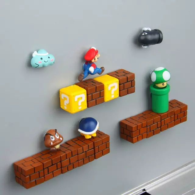 10pcs Classic 3D Super Mario Refrigerator Magnets Decor Fridge Sticker Kids Toy