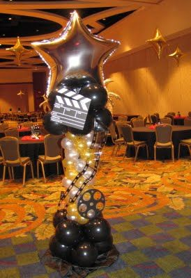 Imprinted balloons and clapboards are fabulous decorations for a #Hollywood-themed #prom.