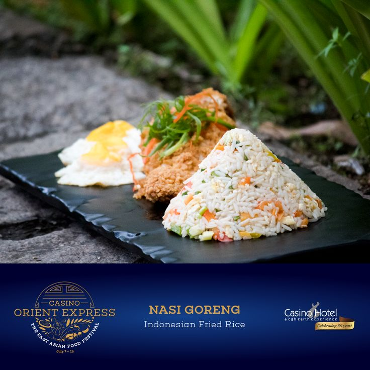 Worlds apart from Chinese Fried Rice, Nasi Goreng is a spicy, Indonesian favourite. It is stir-fried with sambal (chilli sauce), galangal and basil, and may be served with a fried egg.