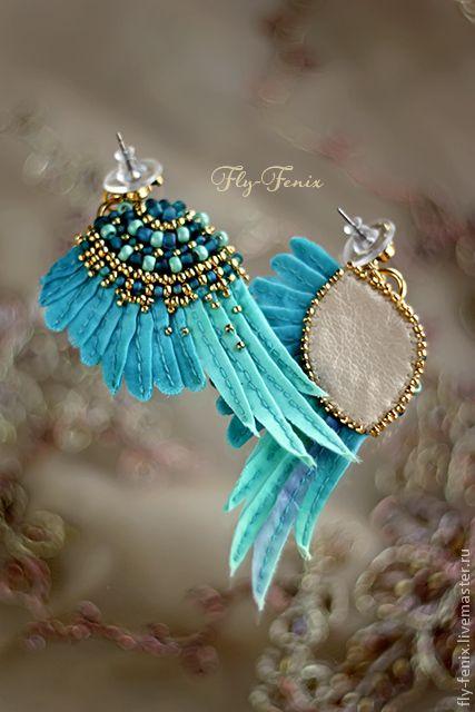 """Купить Серьги """"Крылья Атлантиды"""" - бирюзовый, крылья, крыло, воздушный, небесный, свобода, крылатый, птица"""