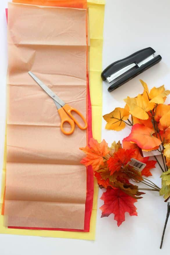 Fall Leaves Fringe Tissue Paper Garland