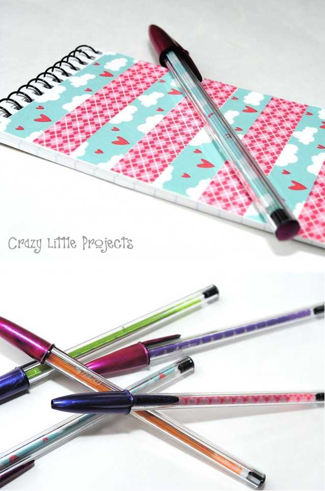 Matching washi tape not pads and pens - tutorial at Crazy Little Projects #washi #tape #gifts http://crazylittleprojects.com/2012/07/washi-tape-notebook-and-pen-set.html