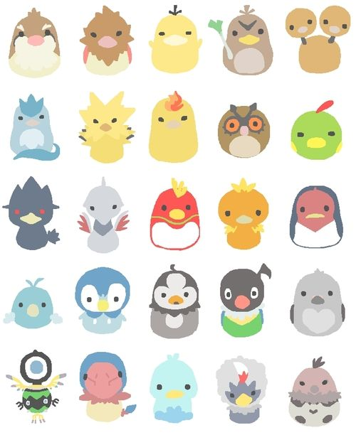 piplup pidgey Articuno Zapdos Moltres legendary chatot Ho-oh Psyduck torchic Archen spearow skarmory starly pidove Murkrow legendary birds Farfetch'd duduo hoothoot Natu swablu Taillow Sigilyph Ducklett Rufflet Vullaby