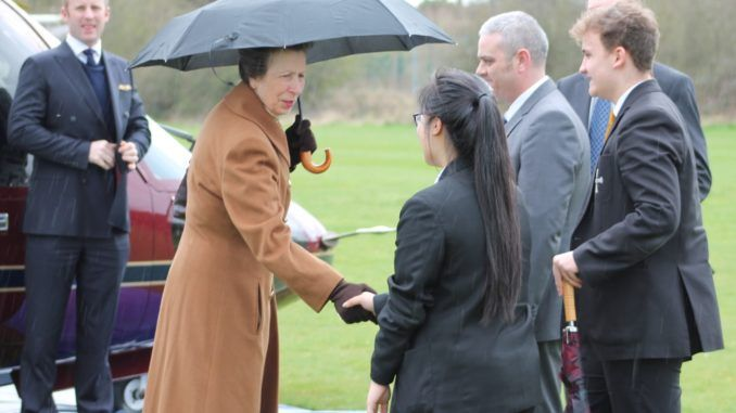 The head boy and head girl at Risedale Sports and Community College greeted Princess Anne as she visited Catterick Garrison today. Yr 11 students David Bulmer and Binita Gurung met the Princess Royal as her Sikorsky S76C helicopter touched down on Risedale's Jaffa playing field at lunchtime. - 29 March 2017.