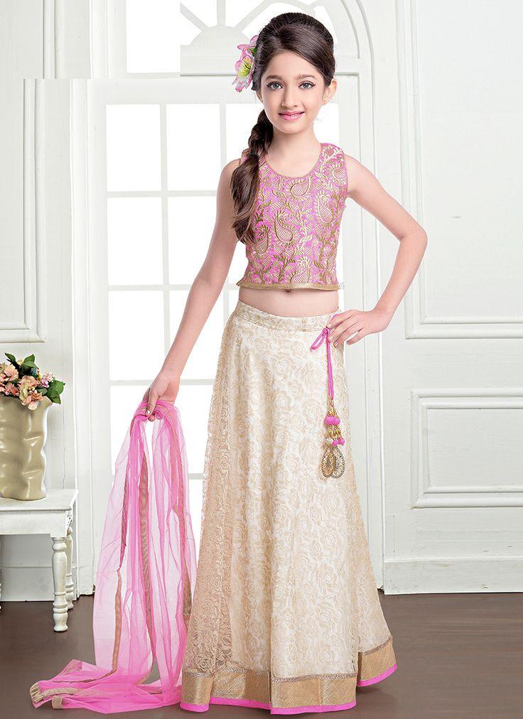 Awe Jacquard Purple And Cream Designer Kids Lehenga Coli