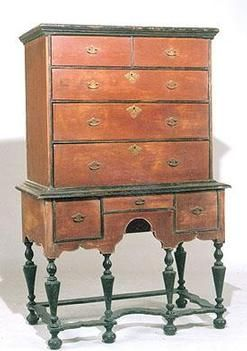 antique william and mary furniture   furniture, America, Furniture: An 18th century piece in black and red ...