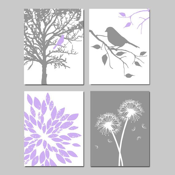 Lavender Purple Gray Baby Girl Nursery Art Quad -  Bird in a Tree, Bird on a Branch, Abstract Floral, Dandelions - Set of Four 8x10 Prints