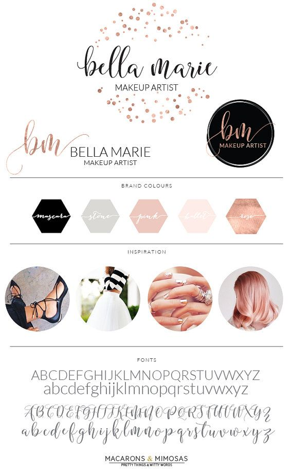 Watercolor Logo Design / Custom Logo design / Rose Gold Photography Branding Kit / Premade branding package / Blog Stamp watermark
