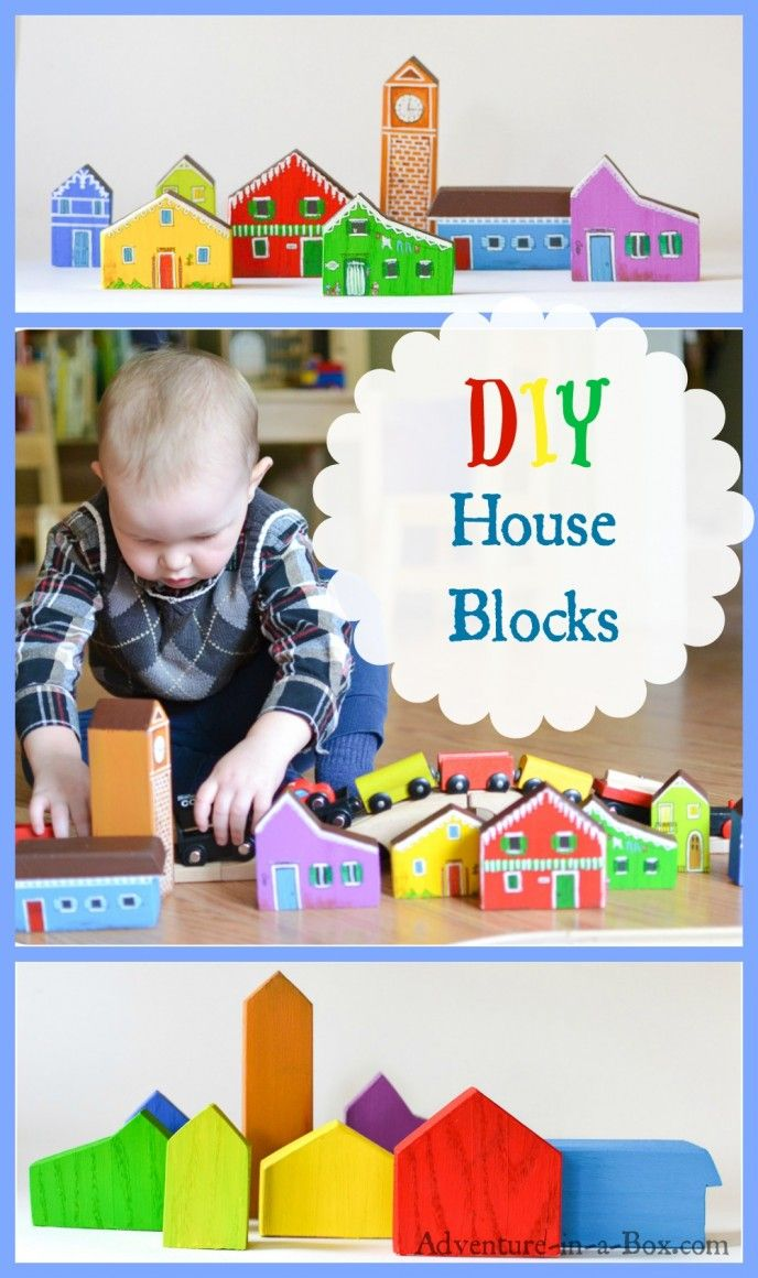 Railroads have stretched across our playroom. To enhance the fun of construction, we decided to add some handmade house blocks to the train set.