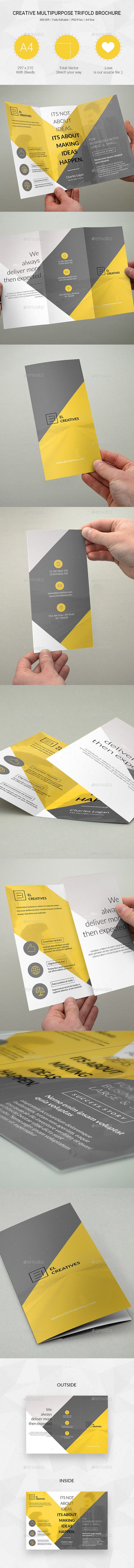 Creative Multipurpose Trifold Brochure Template PSD #design Download…