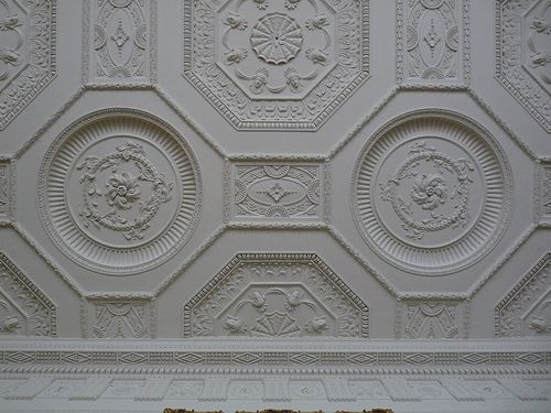 neoclassical ceiling in the Library at Kedleston Hall - Robert Adam
