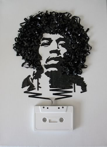 old audio tape used to make portrait of Jimi Hendrix