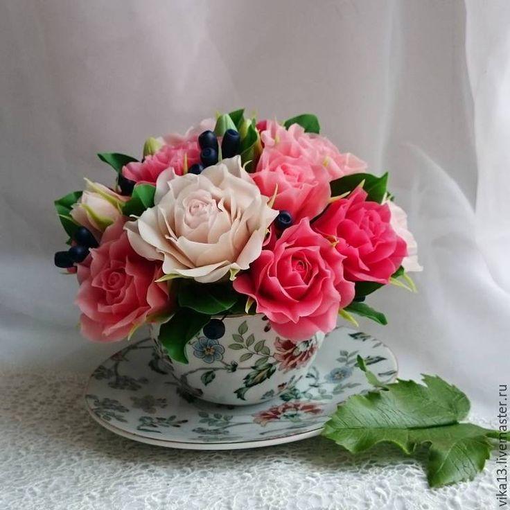 """Купить Чашечка """"Розы с жимолостью"""" - брусничный, цветы ручной работы, роза ручной работы"""