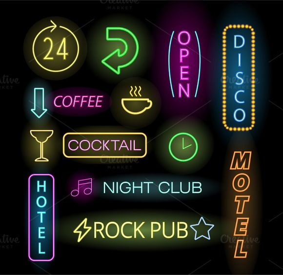 Light neon labels vector by Vector-Stock on @graphicsmag
