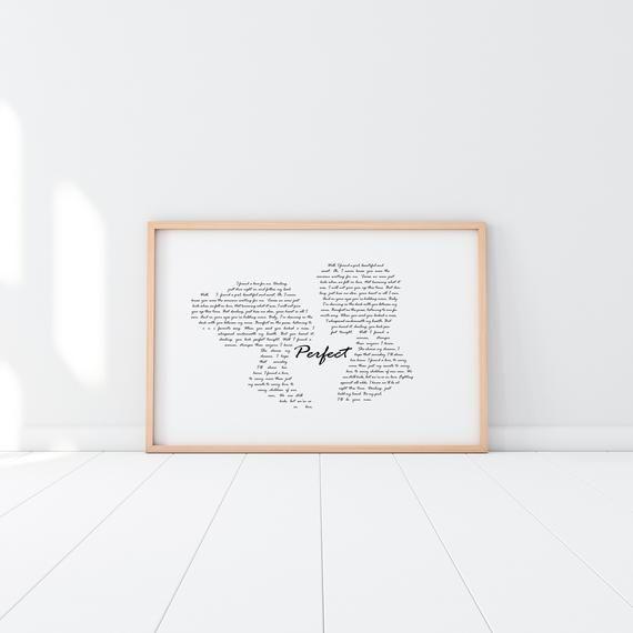 Song Lyrics Ed Sheeran Darling You Look Perfect Lyric Art Wall Calligraphy Font Couple Silhouette Printable Digital Download 11x17 Option B Lyrics Ar